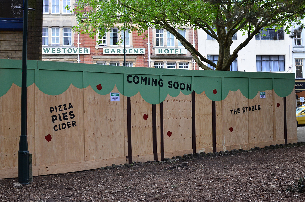 Painting building site hoardings at the stable restaurant for Images of building sites