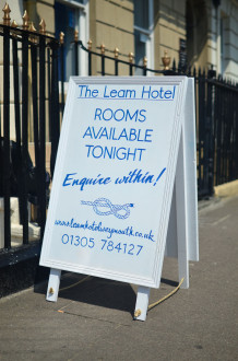 A-board for The Leam Hotel