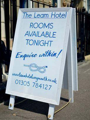 A-board for The Leam Hotel