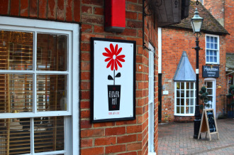 The Flower Pot Cafe and their new sign