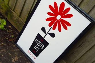 The Flower Pot Cafe sign