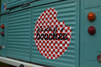Hand painted logo on van