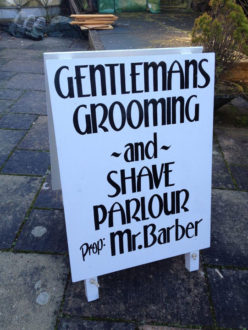 Hand painted A-board for Mr. Barbers
