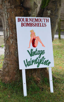 Hand painted A-board for Bournemouth Bombshells