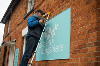Signwriting in Berkshire  for Honesty Kingsclere cafe