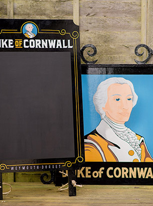 The Duke of Cornwall Weymouth pub sign - A-board