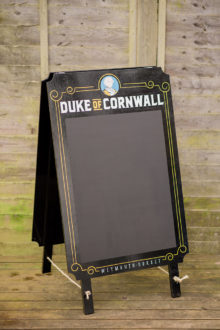 The Duke of Cornwall pub sign - A-board