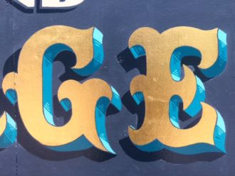 Gold leaf and shadows lettering