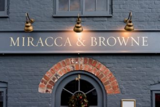 Miracca & Browne - gold leaf shop fascia